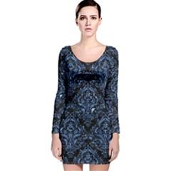 Damask1 Black Marble & Blue Marble Long Sleeve Velvet Bodycon Dress