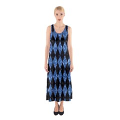 DIA1 BK-BL MARBLE Full Print Maxi Dress