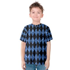Diamond1 Black Marble & Blue Marble Kids  Cotton Tee