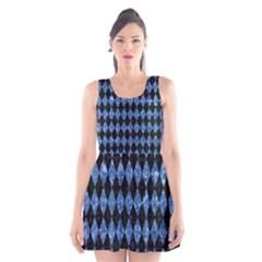 Diamond1 Black Marble & Blue Marble Scoop Neck Skater Dress