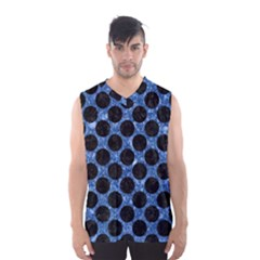 Circles2 Black Marble & Blue Marble Men s Basketball Tank Top
