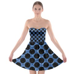 Circles2 Black Marble & Blue Marble Strapless Bra Top Dress
