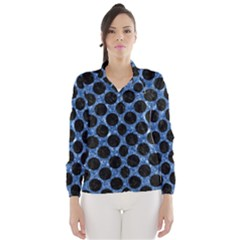 Circles2 Black Marble & Blue Marble Wind Breaker (women)