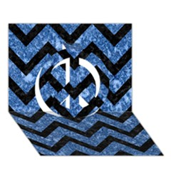 Chevron9 Black Marble & Blue Marble (r) Peace Sign 3d Greeting Card (7x5)
