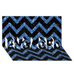 Chevron9 Black Marble & Blue Marble Engaged 3d Greeting Card (8x4)