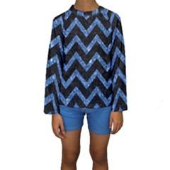 CHV9 BK-BL MARBLE Kid s Long Sleeve Swimwear