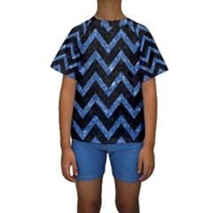 CHV9 BK-BL MARBLE Kid s Short Sleeve Swimwear