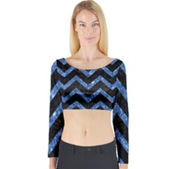 Chevron9 Black Marble & Blue Marble Long Sleeve Crop Top (tight Fit)