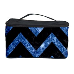 Chevron9 Black Marble & Blue Marble Cosmetic Storage Case