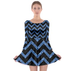 Chevron9 Black Marble & Blue Marble Long Sleeve Skater Dress