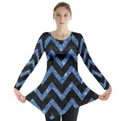Chevron9 Black Marble & Blue Marble Long Sleeve Tunic