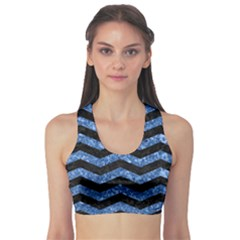 Chevron3 Black Marble & Blue Marble Sports Bra