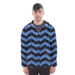 Chevron3 Black Marble & Blue Marble Hooded Wind Breaker (men)