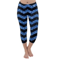 Chevron3 Black Marble & Blue Marble Capri Winter Leggings