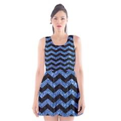 CHV3 BK-BL MARBLE Scoop Neck Skater Dress