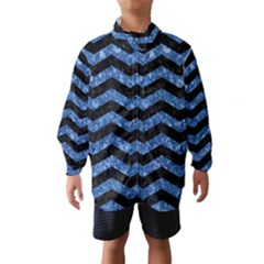 Chevron3 Black Marble & Blue Marble Wind Breaker (kids)