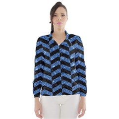 Chevron2 Black Marble & Blue Marble Wind Breaker (women)