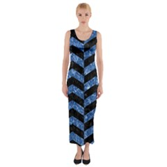Chevron2 Black Marble & Blue Marble Fitted Maxi Dress