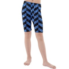 Chevron1 Black Marble & Blue Marble Kids  Mid Length Swim Shorts