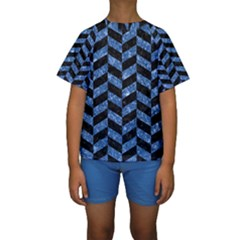 Chevron1 Black Marble & Blue Marble Kids  Short Sleeve Swimwear