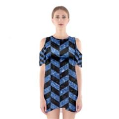CHV1 BK-BL MARBLE Cutout Shoulder Dress