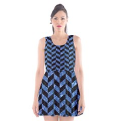 Chevron1 Black Marble & Blue Marble Scoop Neck Skater Dress