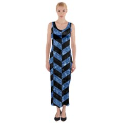 CHV1 BK-BL MARBLE Fitted Maxi Dress