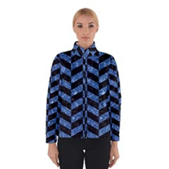 Chevron1 Black Marble & Blue Marble Winter Jacket