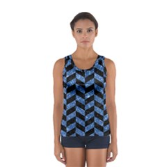 Chevron1 Black Marble & Blue Marble Sport Tank Top