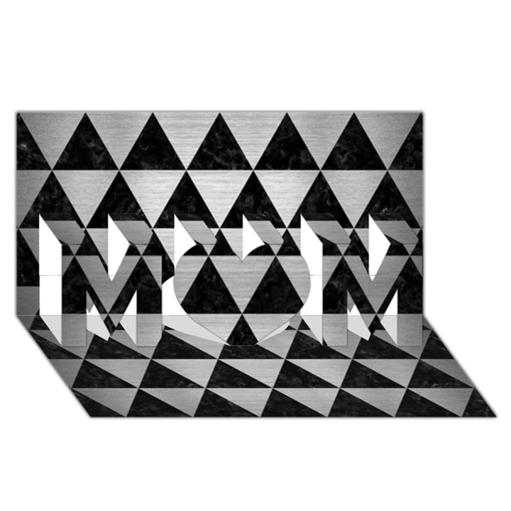 TRIANGLE3 BLACK MARBLE & SILVER BRUSHED METAL MOM 3D Greeting Card (8x4)