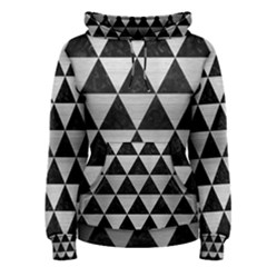 Triangle3 Black Marble & Silver Brushed Metal Women s Pullover Hoodie