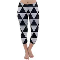Triangle3 Black Marble & Silver Brushed Metal Capri Winter Leggings