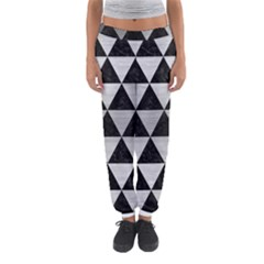 Triangle3 Black Marble & Silver Brushed Metal Women s Jogger Sweatpants