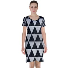 Triangle3 Black Marble & Silver Brushed Metal Short Sleeve Nightdress