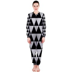Triangle3 Black Marble & Silver Brushed Metal Onepiece Jumpsuit (ladies)