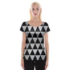 Triangle3 Black Marble & Silver Brushed Metal Cap Sleeve Top