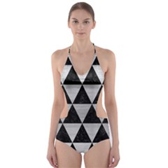 TRI3 BK MARBLE SILVER Cut-Out One Piece Swimsuit