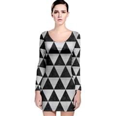 TRI3 BK MARBLE SILVER Long Sleeve Velvet Bodycon Dress