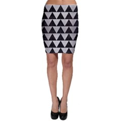Triangle2 Black Marble & Silver Brushed Metal Bodycon Skirt