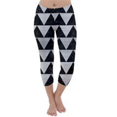 Triangle2 Black Marble & Silver Brushed Metal Capri Winter Leggings
