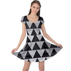Triangle2 Black Marble & Silver Brushed Metal Cap Sleeve Dress