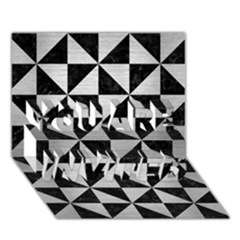 Triangle1 Black Marble & Silver Brushed Metal You Are Invited 3d Greeting Card (7x5)