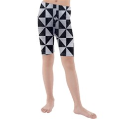 Triangle1 Black Marble & Silver Brushed Metal Kids  Mid Length Swim Shorts