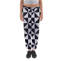 Triangle1 Black Marble & Silver Brushed Metal Women s Jogger Sweatpants
