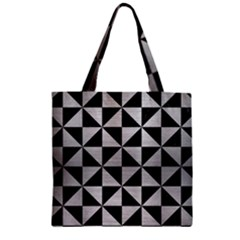 Triangle1 Black Marble & Silver Brushed Metal Zipper Grocery Tote Bag