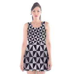 Triangle1 Black Marble & Silver Brushed Metal Scoop Neck Skater Dress