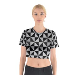 Triangle1 Black Marble & Silver Brushed Metal Cotton Crop Top