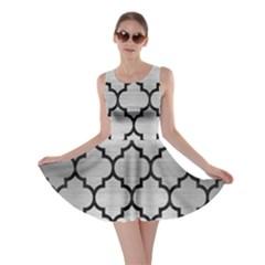 Tile1 Black Marble & Silver Brushed Metal (r) Skater Dress