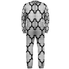 Tile1 Black Marble & Silver Brushed Metal (r) Onepiece Jumpsuit (men)