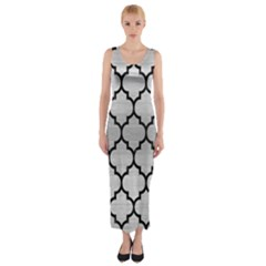 TIL1 BK MARBLE SILVER (R) Fitted Maxi Dress